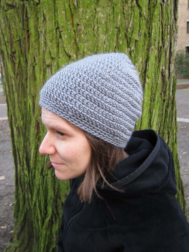 gray hat crochet on