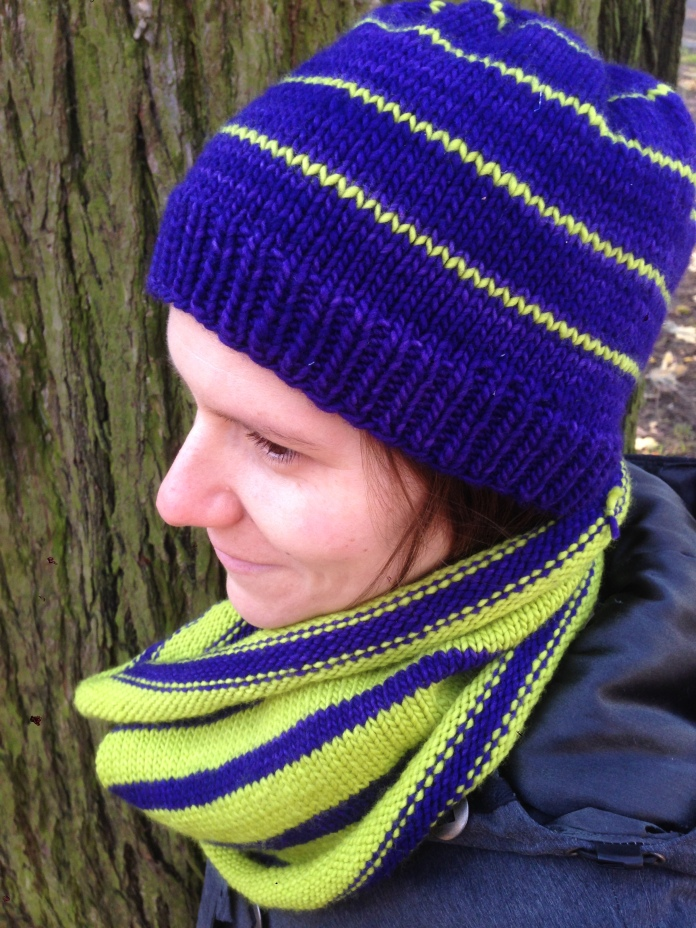 knit green purple hat cowl combo